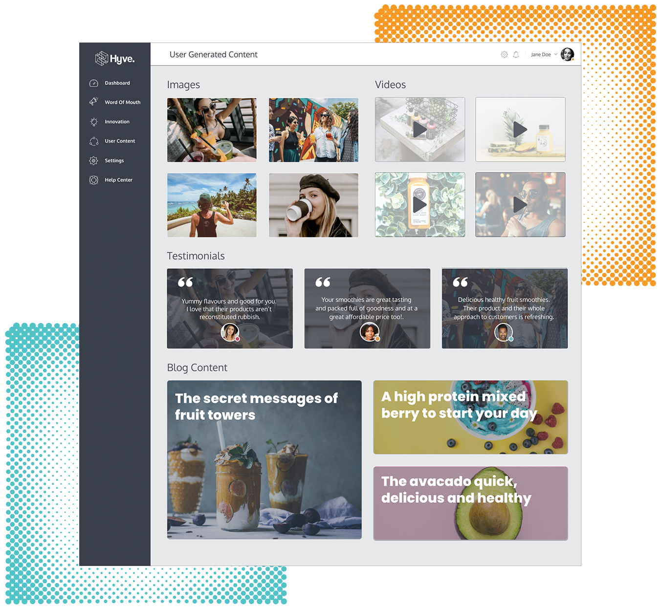 User Generated Content Platform Screen